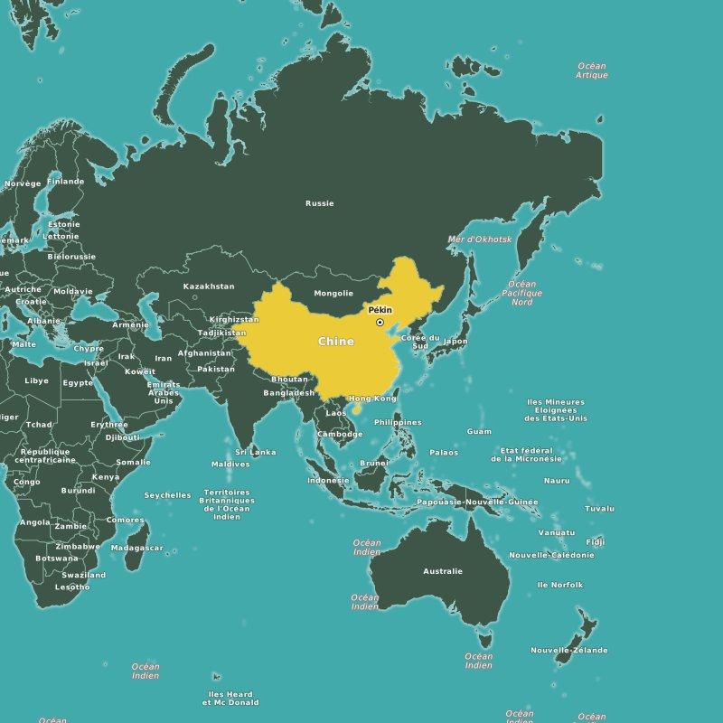 carte de la chine et le reste du monde
